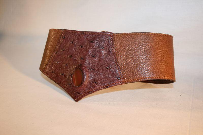 ceinture cuir de vachette - autruche et agatte